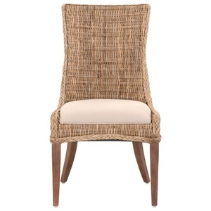 Greco Woven Wicker Dining Chair with Upholstered Seat
