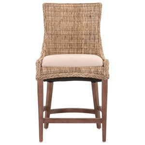 Greco Woven Counter Stool with Upholstered Seat