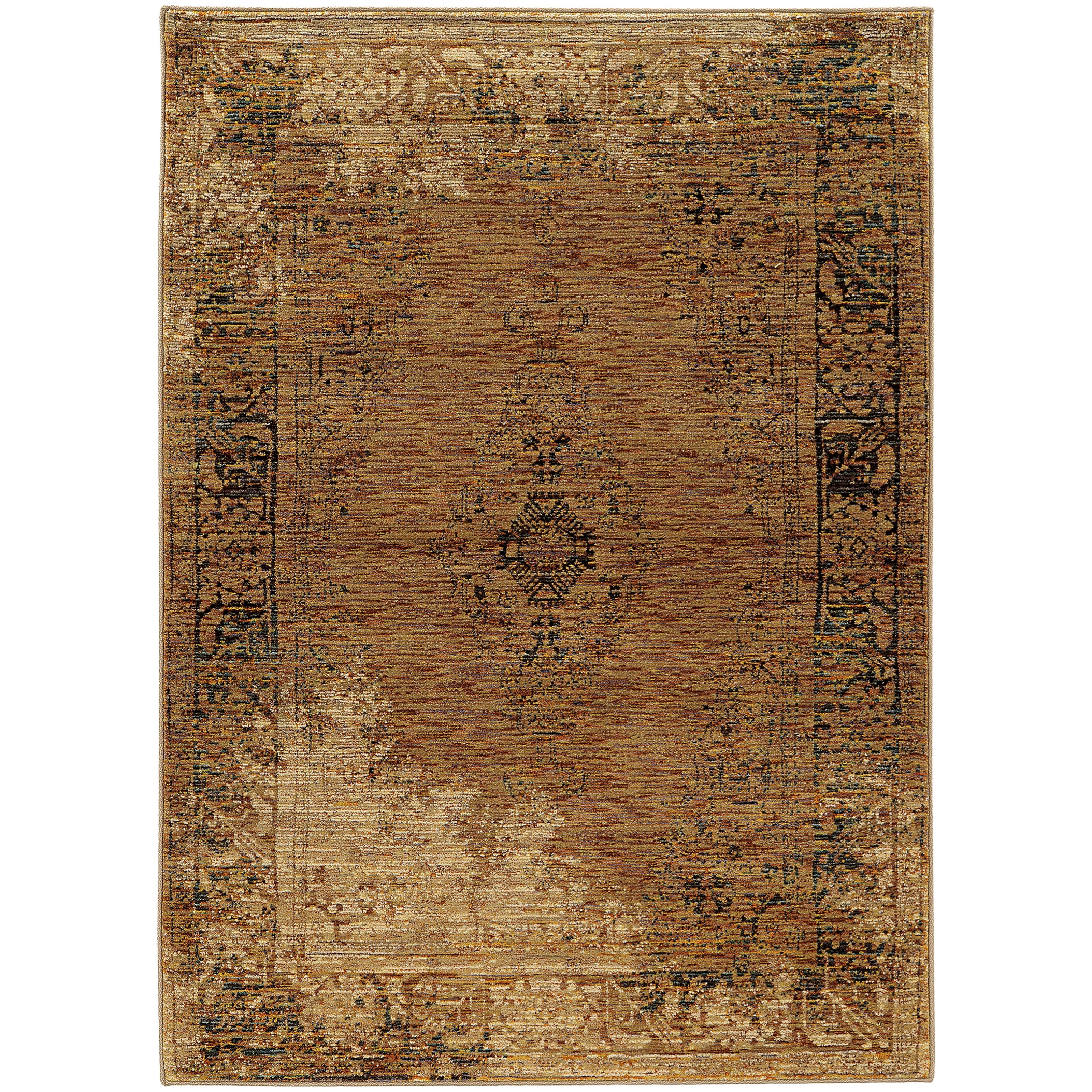 """Andorra 5' 3"""" X  7' 3"""" Casual Gold/ Brown Rectangle  by Oriental Weavers at Steger's Furniture"""