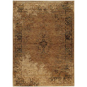 "7'10"" X 10'10"" Casual Gold/ Brown Rectangle Rug"