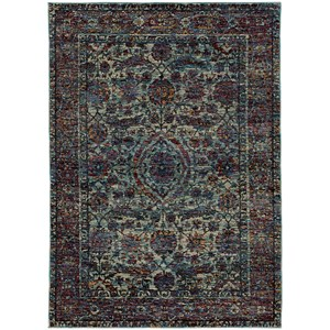 "7'10"" X 10'10"" Casual Blue/ Purple Rectangle Rug"