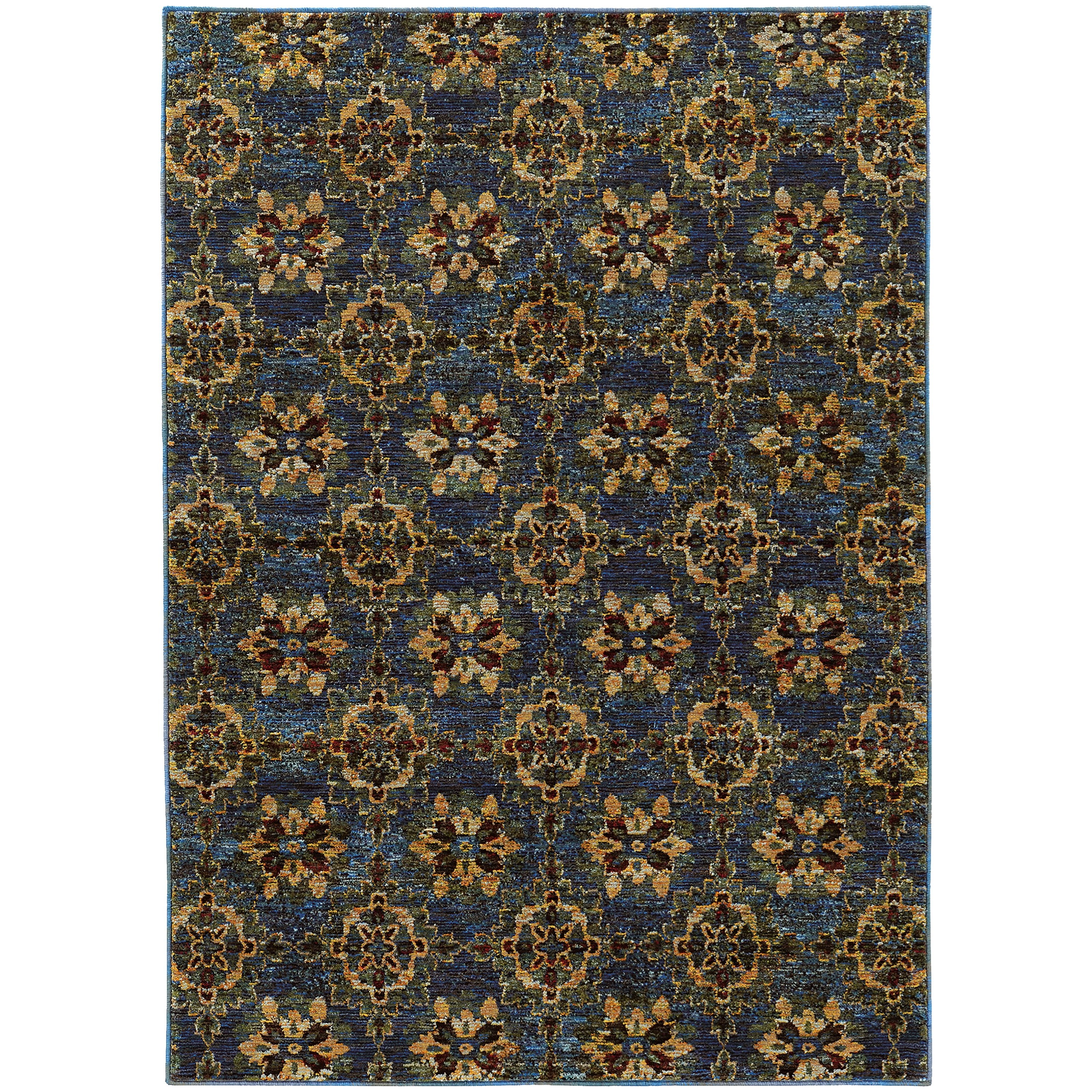 """3' 3"""" X  5' 2"""" Casual Blue/ Gold Rectangle R"""