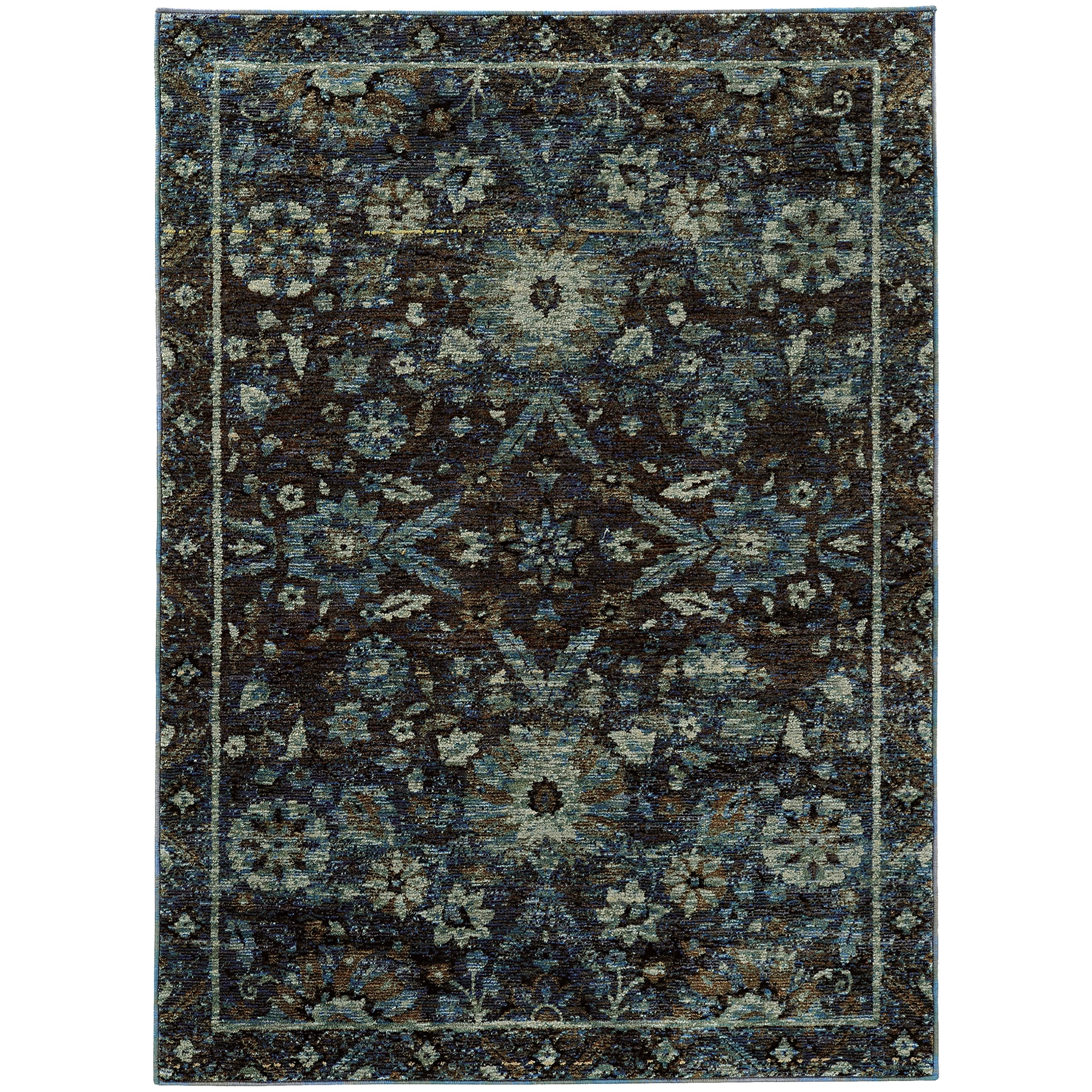 "Andorra 6' 7"" X  9' 6"" Casual Navy/ Blue Rectangle R by Oriental Weavers at Novello Home Furnishings"