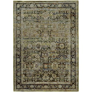 "7'10"" X 10'10"" Casual Green/ Brown Rectangle Rug"