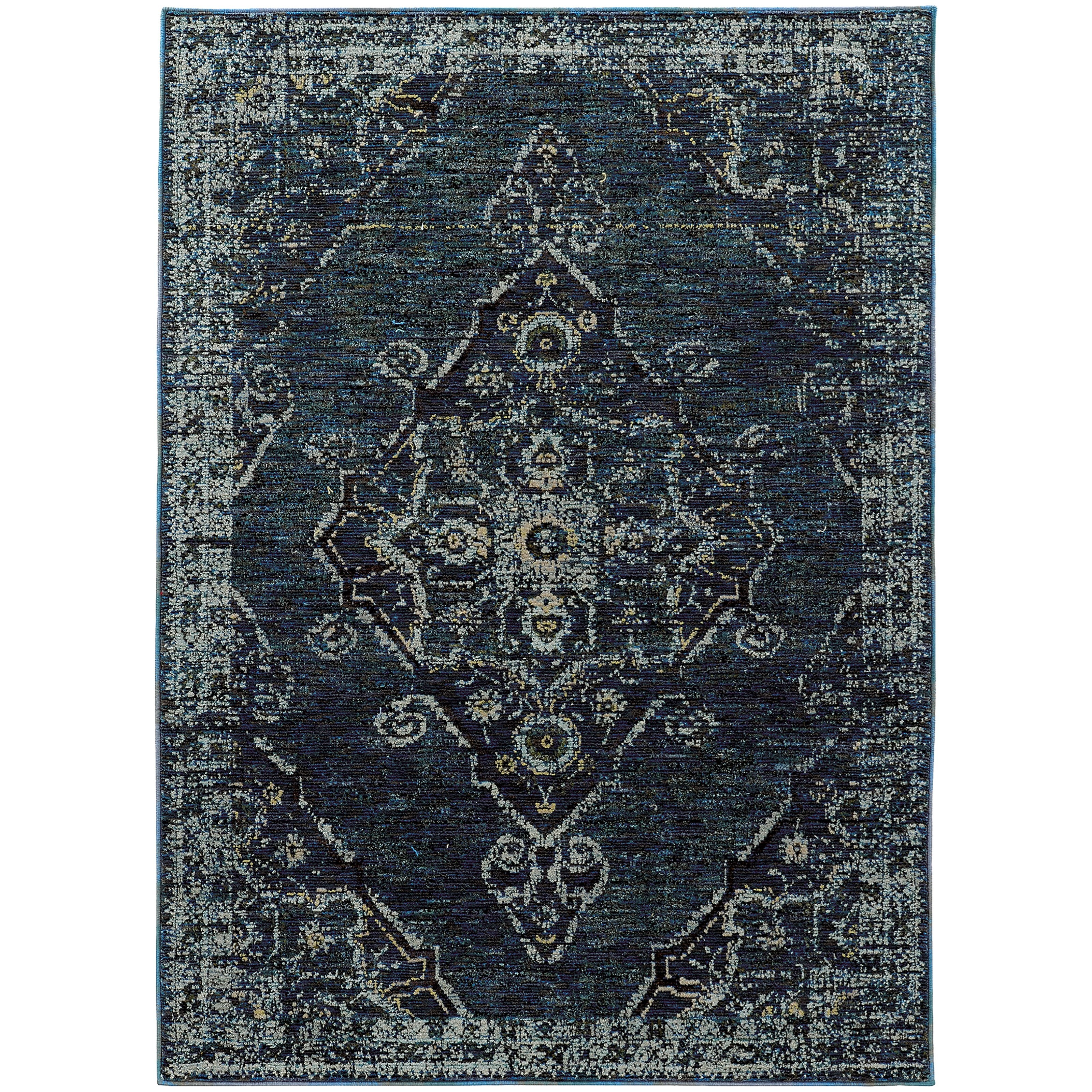 """Andorra 7'10"""" X 10'10"""" Casual Blue/ Blue Rectangle R by Oriental Weavers at Steger's Furniture"""