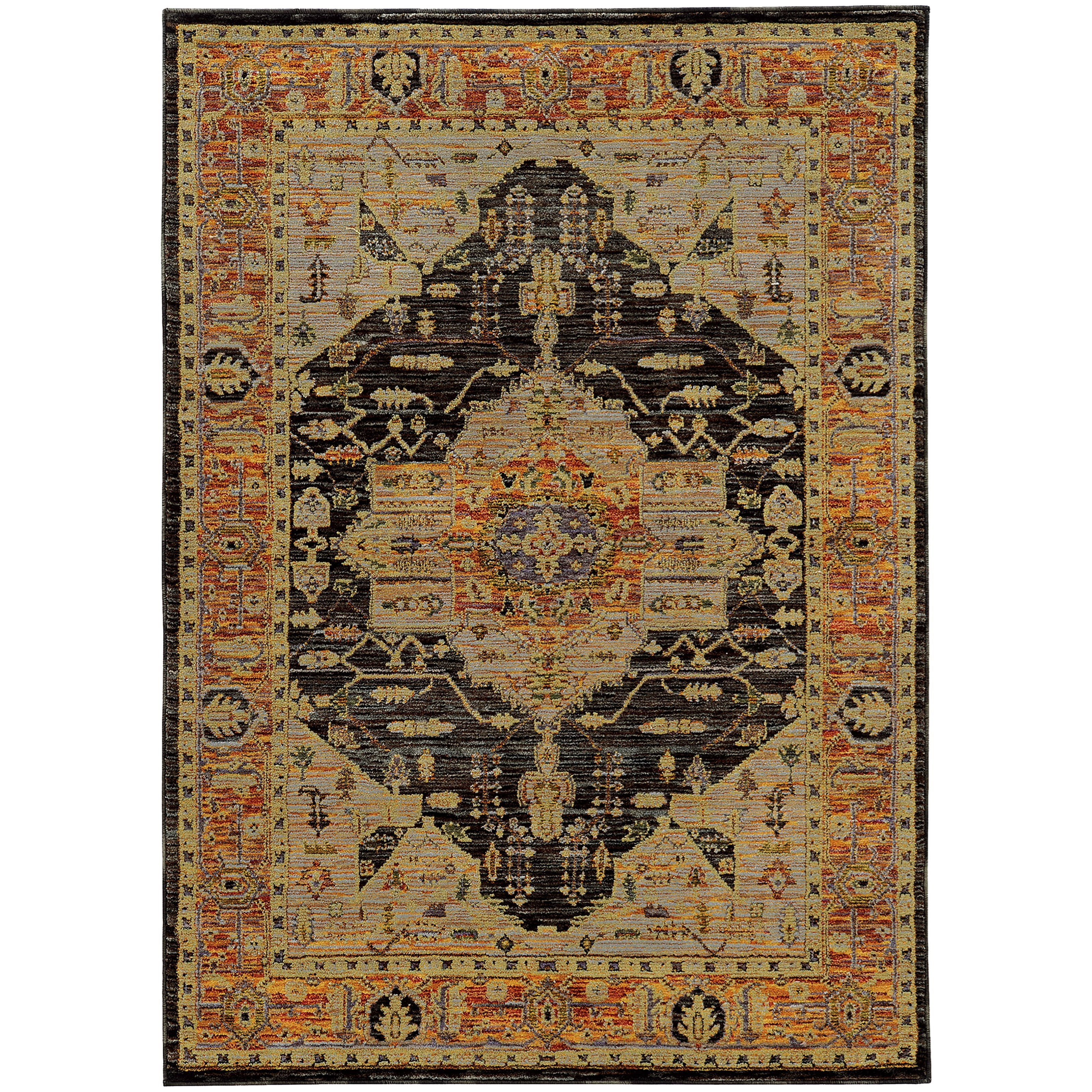 """Andorra 5' 3"""" X  7' 3"""" Traditional Gold/ Grey Rectan by Oriental Weavers at Steger's Furniture"""