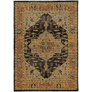 "7'10"" X 10'10"" Traditional Gold/ Grey Rectangle Rug"