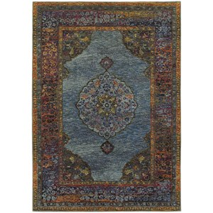 "7'10"" X 10'10"" Traditional Blue/ Multi Rectangle Rug"