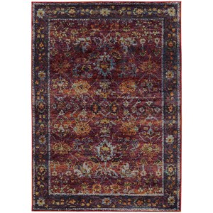 "7'10"" X 10'10"" Casual Red/ Purple Rectangle Rug"