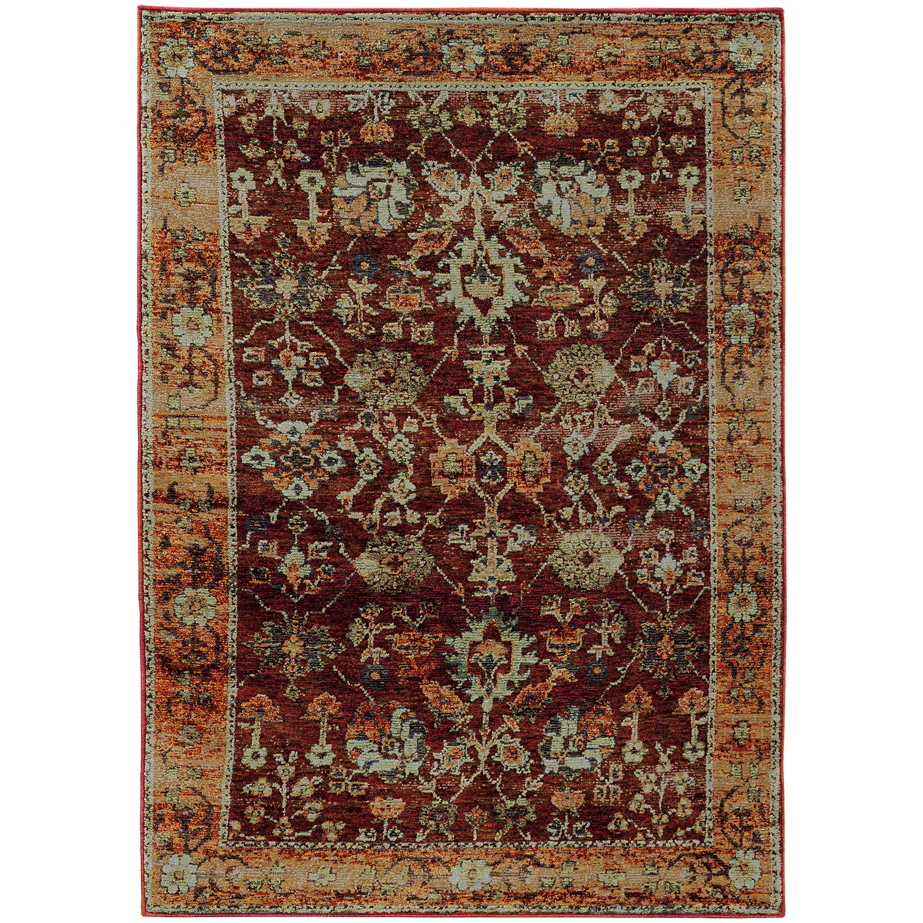 """Andorra 6' 7"""" X  9' 6"""" Casual Red/ Gold Rectangle Ru by Oriental Weavers at Steger's Furniture"""