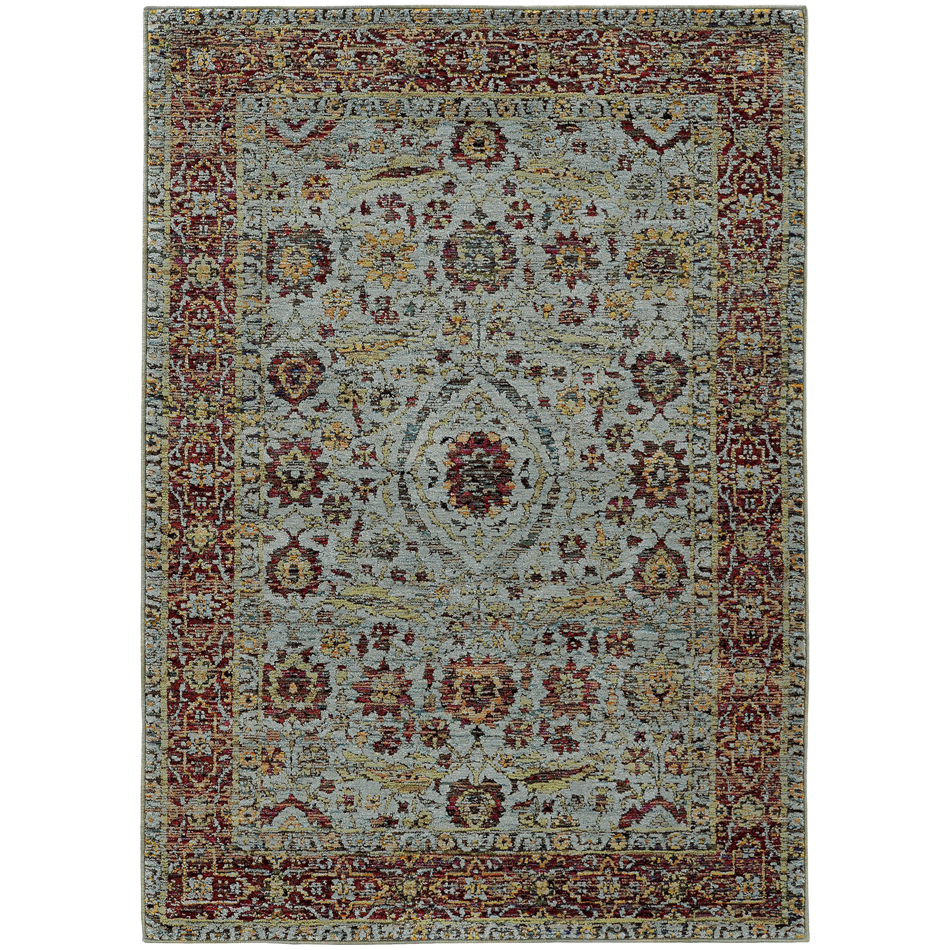 """Andorra 7'10"""" X 10'10"""" Casual Blue/ Red Rectangle Ru by Oriental Weavers at Steger's Furniture"""