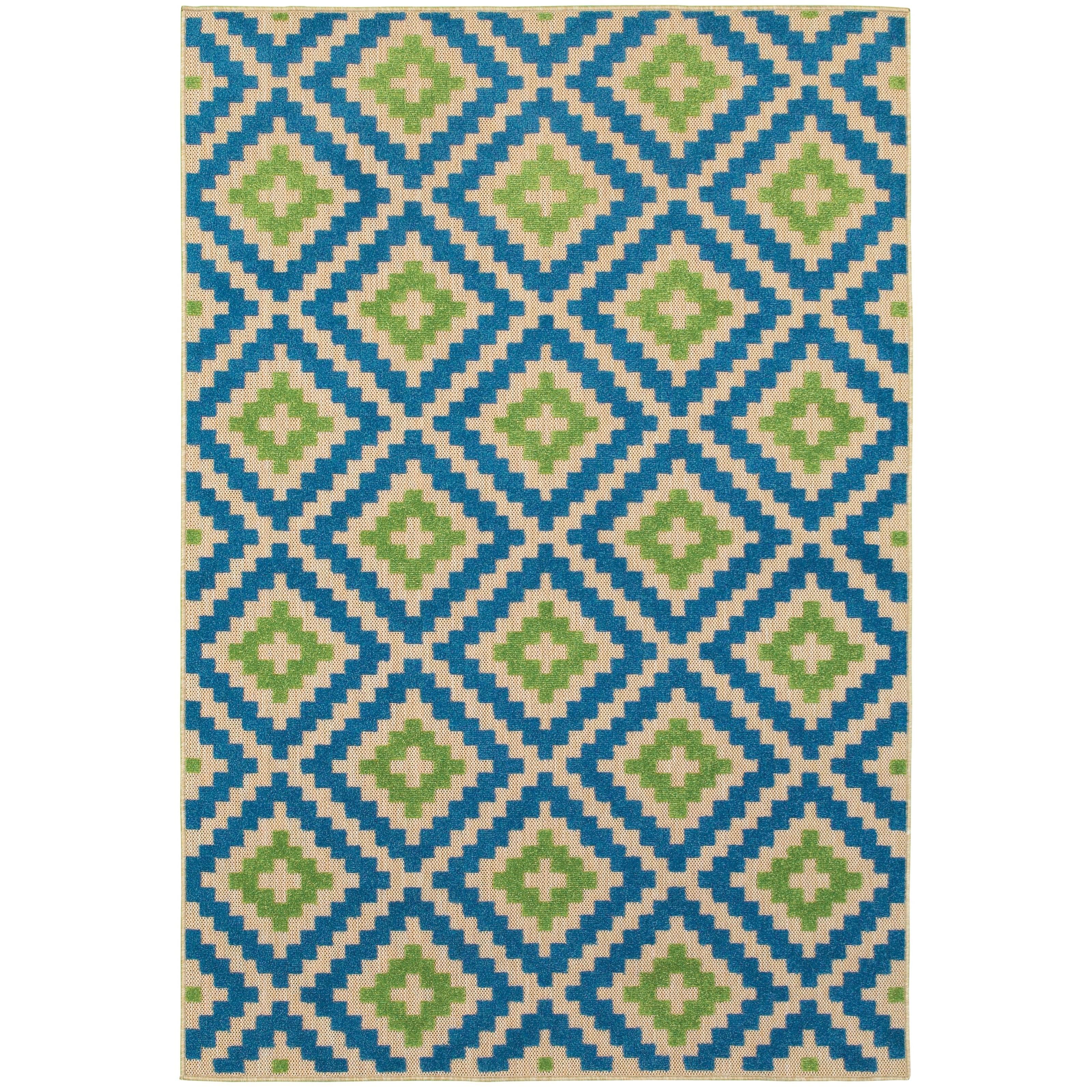 "Cayman 7'10"" X 10'10"" Outdoor Sand/ Blue Rectangle  by Oriental Weavers at Lucas Furniture & Mattress"