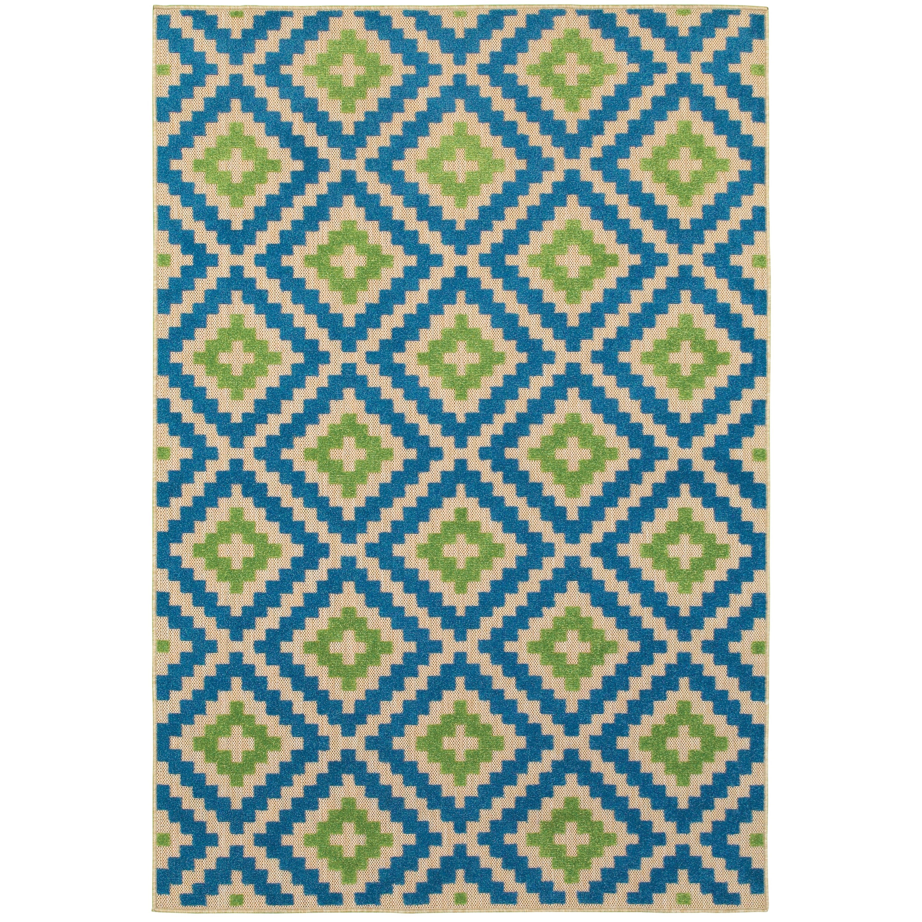 """Cayman 9'10"""" X 12'10"""" Outdoor Sand/ Blue Rectangle  by Oriental Weavers at Steger's Furniture"""