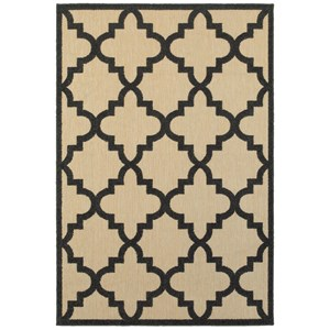 """7'10"""" X 10'10"""" Outdoor Sand/ Charcoal Rectangle Rug"""