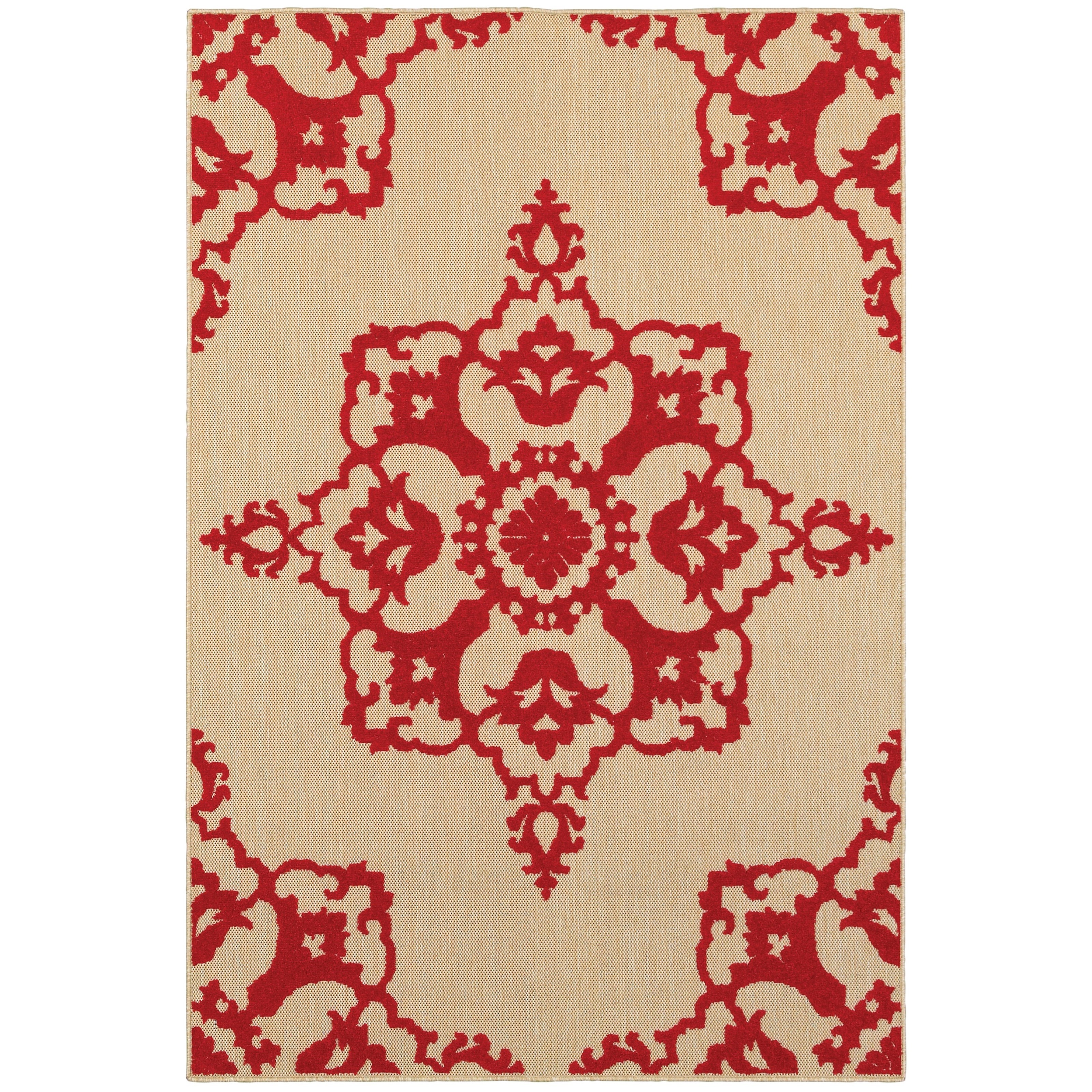 """Cayman 6' 7"""" X  9' 6"""" Outdoor Sand/ Red Rectangle R by Oriental Weavers at Steger's Furniture"""