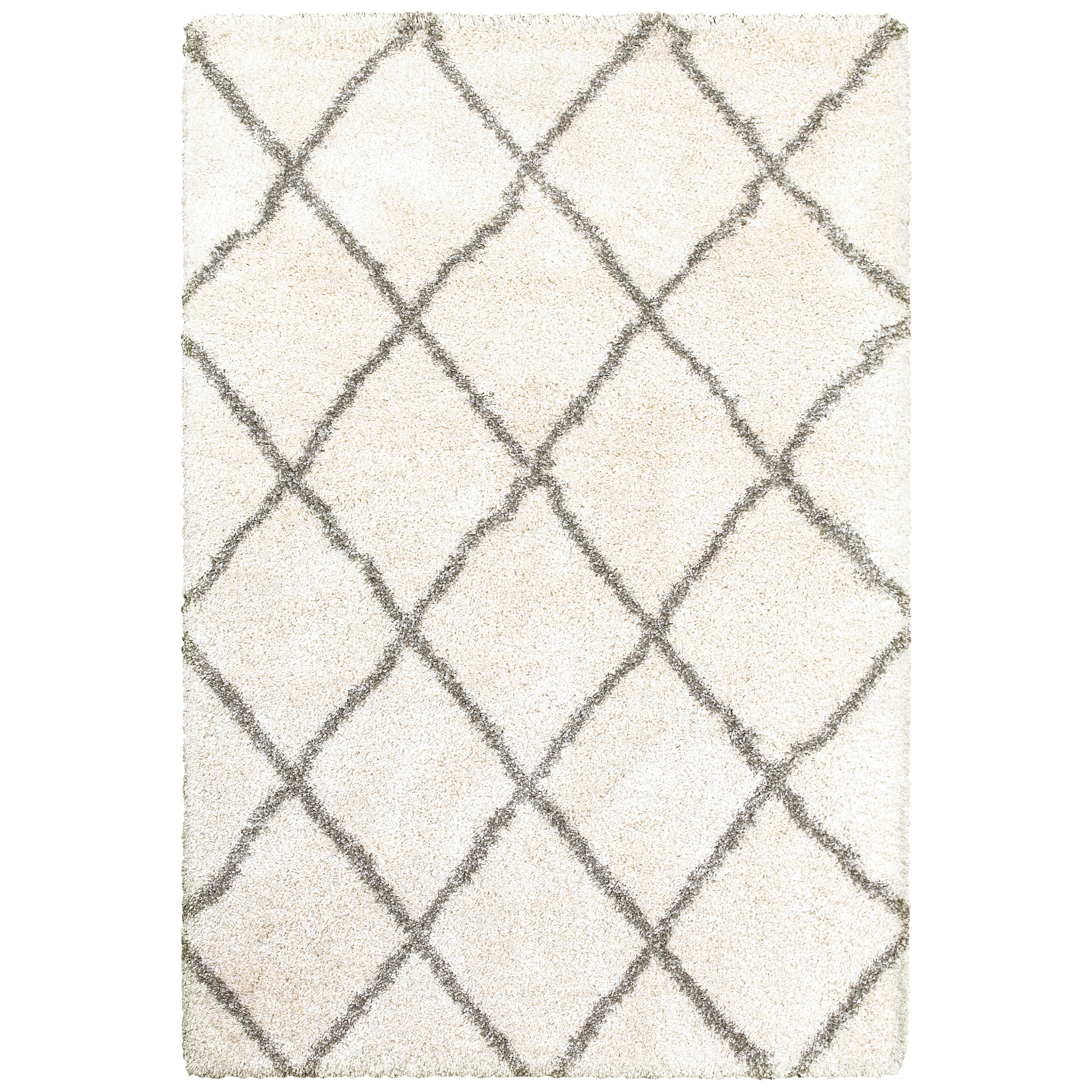 """Henderson 5' 3"""" X  7' 6"""" Shag Ivory/ Grey Rectangle Ru by Oriental Weavers at Darvin Furniture"""