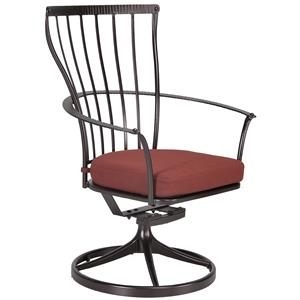 Dining Swivel Rocker Arm Chair with Seat Cushion