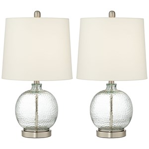 2 Pack Glass And Metal Round Lamps
