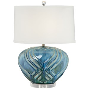 Oval Blue Ceramic Lamp