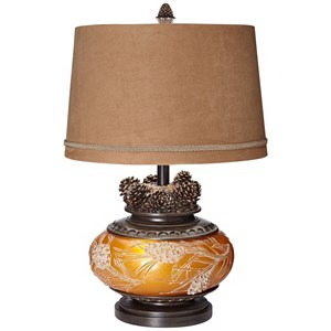"26"" Amber Pinecone Lamp"