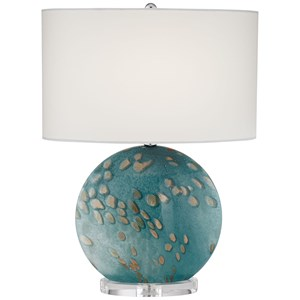 Glass Flat Oval Art Glass Table Lamp