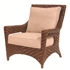 Transitionally Styled Rattan Lounge Chair