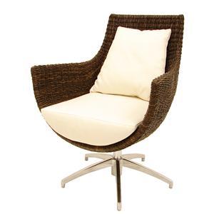 Modern High Back Rattan Swivel Chair