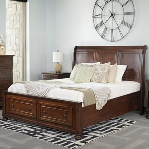 King Sleigh Bed with Footboard Storage