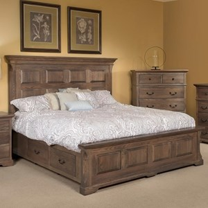 Traditional King Size Panel Bed with Footboard Storage