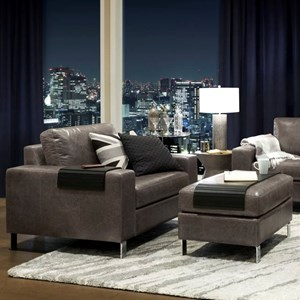 Contemporary Upholstered Chair with Ottoman