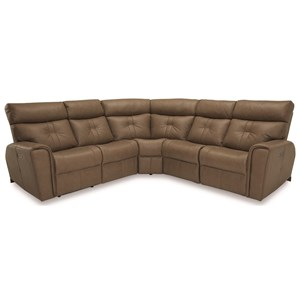 Contemporary Corner Sectional Power Recliner with Power Headrests