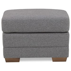 Contemporary Ottoman with Exposed Wood Legs