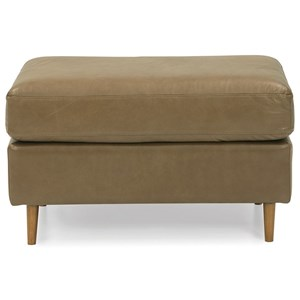 Contemporary Rectangular Ottoman with Exposed Wood Legs
