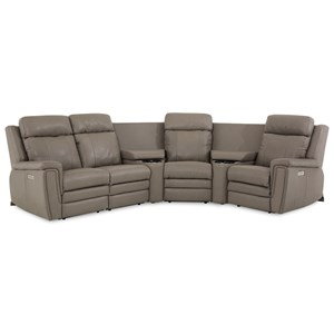 Contemporary Power Reclining Sectional with Power Headrests and Lumbar Support