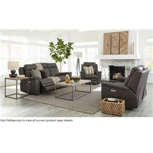 Contemporary Sofa Power Recliner with Power Headrests and Lumbar Support