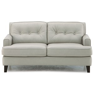 Transitional Stationary Loveseat with Tapered Wood Legs