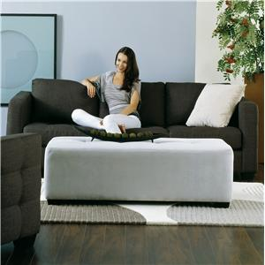 Contemporary Sofa with Decorative Track Arm and Cushion Tufting