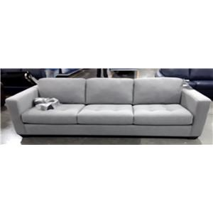 Contemporary Sofa with Decorative Track Arms and Cushion Tufting