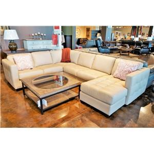 Contemporary Sofa Sectional with Track Arm and Cushion Tufting