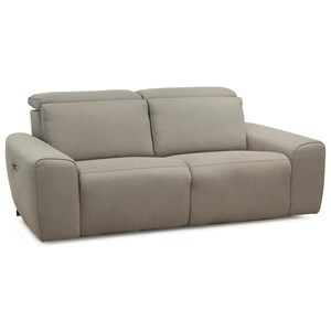 Contemporary Sofa Power Recliner with Power Headrests