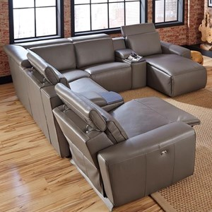 Contemporary 5-Seat Corner Reclining Sectional with Power Headrests