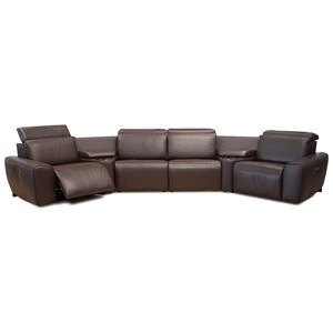 Contemporary 4-Seat Angled Reclining Sectional with Power Headrests
