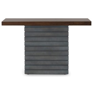 Modern Pedestal Console Table with Walnut and Zinc Finishes