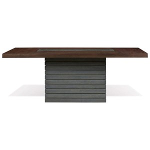 Modern Pedestal Dining Table with Grey Stone Inlay