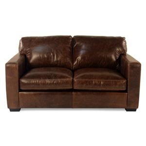 Leather Loveseat w/ Track Arms