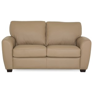 Contemporary Loveseat with Rounded Track Arms