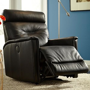 Contemporary Swivel Rocker Recliner with Track Arms