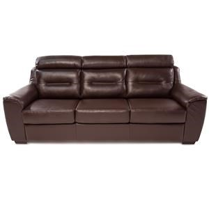 Contemporary Leather Sofa w/ Exposed Wood Legs