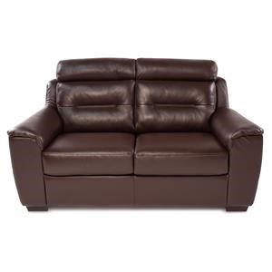 Contemporary Leather Loveseat w/ Exposed Wood Legs