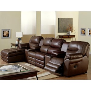 4-Seat Reclining Home Theater Sofa